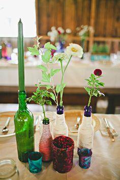 Bohemian Family Cookout Wedding: Tyler & Kristen  DIY Centerpieces