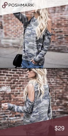 NWOT Camo top 100% cotton. Brand new, never worn. Size medium. True to size. No paypal, no lowballs please. Cold shoulder cut out camouflage tunic. Tops Tees - Long Sleeve