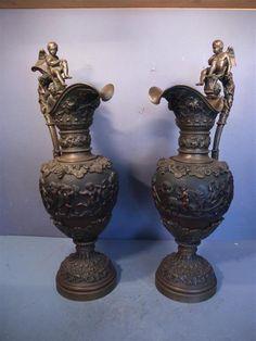 1 Paar große Kannen, Bronze, Frankreich, vielleicht F.Barbedienne?, um 1870/80