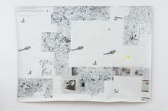 "Henrik Olesen, pour la forme, (after Guy Debord / Asger Jorn: Memoires, 1959, 1998-2014, Canvas, Inkjet Print on Proof Paper ZP 55 (Newspaper), 55 gouache /m2, Amsterdam Gel Medium Matt Glue, 204,5 x 276 cm/ ""And Life Goes On"" at Between Bridges, 2014"