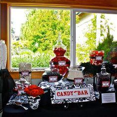 Chick's Candy Buffet :  wedding black candy bar candy buffet damask red wedding white Chicks Candy Buffet