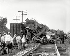 "Laurel, Maryland. July 31, 1922. ""Two B freights wrecked in head-on crash at Laurel switch."" National Photo Company glass negative."