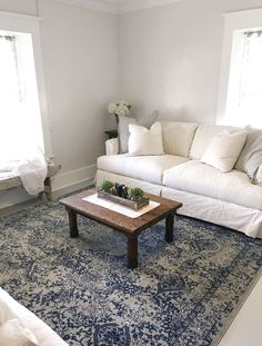 Living room makeover with Rugs USA's Bosphorus Floral Ornament BD21 Rug!