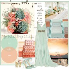 "Pretty!! ""My Wedding Colors, pale aqua and shades of coral"" by gaylagirl on Polyvore"
