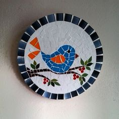 Cute tiny bird mosaic on a branch. Mosaic Garden Art, Mosaic Pots, Mosaic Diy, Mosaic Crafts, Mosaic Projects, Mosaic Wall, Mosaic Glass, Mosaic Animals, Mosaic Birds