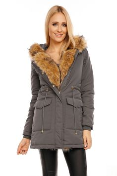 Μπουφάν μακρύ με γούνα και τσέπες Zell - Γκρι. Fashion e-Shop 2c772a9cf4c
