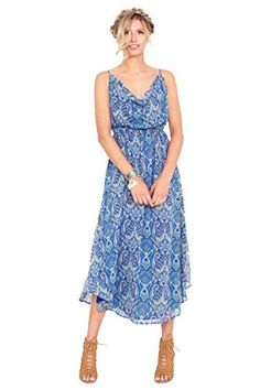The Sugarlips Tried And True Midi Dress is a gorgeous blue printed maxi tank dress with a draped front and self tie in the back. Price : $67.00 #MyLuluCloset #Sugarlips #NewArrivals