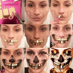 Pictorial Tutorial: Opulent Skull✨ The teeth were quite fiddly, I wanted a gold disco ball effect. I cut out L'Oreal nail foils in the shape of a tooth using nail scissors and stuck them down using Aquafix. The eyelashes are from Illamasqua, Facepaints are from Wolfe Face FX, gold tears are gold supra colour from Kryolan and the glitter is from an art shop. Check out the vid of the glittering teeth on my page. #skulltress #blackandgold #skullmakeup #dupemag #illamasqua #kryolan #wolfeface...