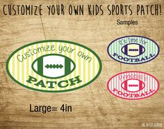 LARGE Oval Football Custom Patches - Personalized Football Patches