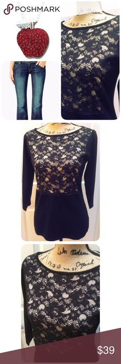Black Lace Sweater This top is beautiful. Featuring a Lace on front. Non see thru. 3/4 Sleeves. New with tags. The Limited Sweaters