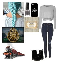 """""""Train to Hogwarts"""" by meow1104 ❤ liked on Polyvore featuring Topshop, Glamorous, Dr. Martens, Casetify and OPI"""