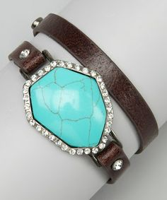 Love this Brown & Turquoise Rhinestone Leather Wrap Bracelet by I Love Accessories on #zulily! #zulilyfinds