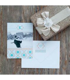 Monogram Ikat & Stripes Printable Photo Holiday Card