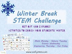 Keep your students engaged in learning during the winter months with this packed STEM calendar! Activities are straightforward and accessible to students of all levels with little or no supplies needed. Get them up, outside, and exploring the world! Students will pop frozen bubbles, make fake snow, build a catapult, create a wrapping paper bridge, and much more! http://www.teacherspayteachers.com/Product/Winter-STEM-Activity-Challenge-Calendar-Fun-with-Math-Science-and-Engineering-1576394