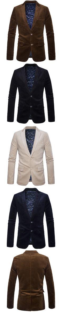 2017 hot sale Products Autumn Corduroy men's blazer England Slim Solid  men beige  black navy blue   blazer brown  M-3XL   27701