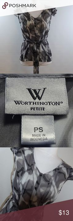 """WORTHINGTON PETITE Women's Sheer Blouse - SZ PS Brand: Worthington Petite Size: Women's PS Color: Black, Gray Design: Buttons, Tie, Sheer Neckline: Button Down Sleeves: Cap Materials: Unknown - Tag Removed  Measurements (approximate) Length: 22"""" Underarm to underarm (laying flat): 18"""" Waist (laying flat): 15""""  Condition: Gently pre-owned / Fabric is relatively fresh and new looking with no flaws. May show slight signs of use/washing etc.  1A4-000164  WORTHINGTON PETITE Women's Blouse - Black…"""