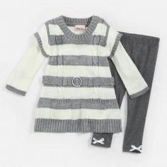 Frugal Girls Little Lass White And Gray Stripe Sweater Dress Size 4t Clothing, Shoes & Accessories Girls' Clothing (newborn-5t)