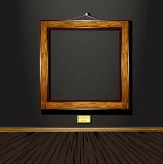 retro wood frame vector