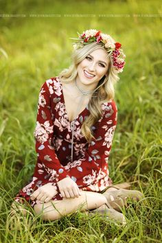 Senior picture portrait ideas flower crown natural backlit romper show me your mumu inspired