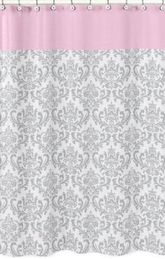 Elizabeth Pink And Gray Damask Shower Curtain By Sweet Jojo Designs