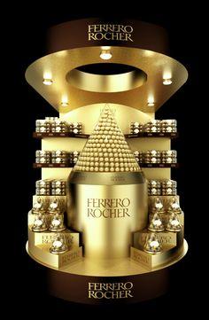 Luxury // Ferrero Rocher pallet POSm on Behance Ferrero Rocher, Pos Design, Stand Design, Retail Design, Pos Display, Display Design, Pallet Display, Counter Display, Product Display