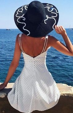 #summer #flawless #outfitideas   Sea + Hat + Polka Dots