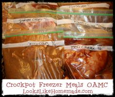 Crockpot Freezer Meals:   1) saucy pork chops  2) soy chicken  3) chicken fajitas  4) beef fajitas  5) pot roast and veggies  6) pulled BBQ chicken  7) ranch chicken breasts  8) Italian chicken breasts  9) Italian pork chops