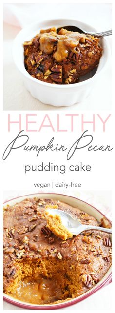 This healthier pumpkin pudding cake is like a cross between chocolate lava cake and pumpkin pie! With a creamy pumpkin pudding and moist and flavourful cake, it makes the perfect decadent yet healthier dessert! | Vegan & Dairy-free | Haute & Healthy Living
