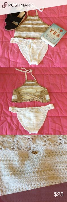 PilyQ crochet bikini Darling gold and white crochet bikini with multi-strap back by PilyQ. Size medium. Worn once. No stretch. Some imperfections in crochet-work on bottoms as shown. Shoes available in separate listing. 🐬🐡🌴 Pilyq Swim Bikinis