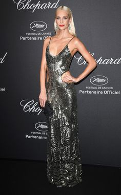 Poppy Delevingne goes for glam with cutouts in an eveningwear piece.
