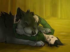 Loki and his son Fenrir