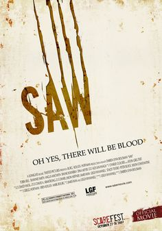 Jasmine Perry - Depicted in this movie poster is a use of typographic design to feature a popular horror movie. The way in which the letters are spaced and placed can exemplify the way typography can exaggerate the appeal of a title and the description. This movies pretty gory...
