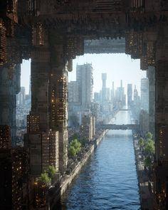 Habitat by Inward : ImaginaryCityscapes Cyberpunk City, Arte Cyberpunk, Futuristic City, Futuristic Architecture, Cyberpunk Tattoo, Parametric Architecture, Drawing Architecture, Cyberpunk Fashion, Futuristic Technology