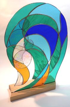 Spring Tide freestanding stained glass art by Vitreus Art