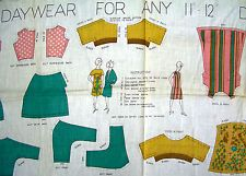 "Vintage Cloth Cut & Sew BARBIE 11-12"" Fabric Panel Doll Clothes Pattern Daywear"