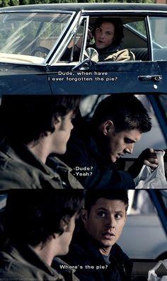 dean winchester, funny, lol, pie, sam winchester, supernatural