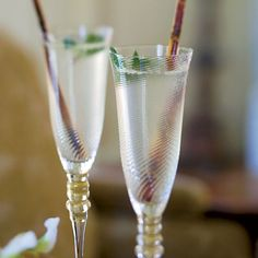 Champagne Mojitos | This puckery drink is prepared with rum and fresh mint like a classic mojito, but New Orleans chef John Besh makes it holiday-worthy by topping it with a splash of Champagne.