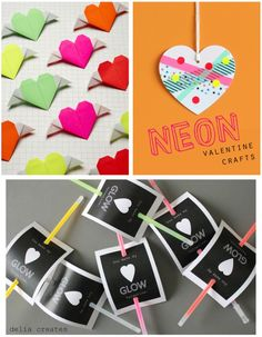 3 Neon Valentine Crafts featured on Everyday Fun! #everydayfun