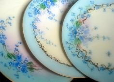 pretty plates - love vintage porcelain and china - the delicate florals and shading