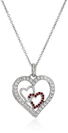 PlatinumPlated Sterling Silver and Swarovski Zirconia ThreeHeart Pendant Necklace *** You can get more details by clicking on the image.Note:It is affiliate link to Amazon.