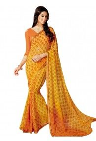 Dazzling Yellow Color Georgette Saree by Vishal Prints