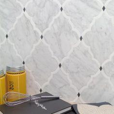 Shop For Vanguard White Thassos, White Carrara and Bardiglio Dot Polished Marble Tile at TileBar.com