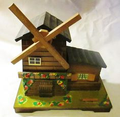 Large Vintage Wood Moving Windmill Musical by ThrillOfTheHunt, $34.00