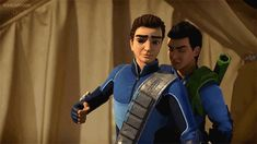 Scott Tracy the hothead and Virgil the calm one. Scott shrugs off his brother as he pulls him back from pounding a scumbag into the dirt. Thunderbirds Are Go, Fake People, Netflix, Tv Series, Brother, Harry Potter, Cartoons, Calm, Fandoms