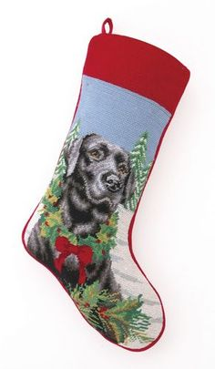 Needlepoint Dog Breed Christmas Stockings - Dog Chic Boutique.  Click here to order today: http://store.dogchicboutique.com/needlepoint-dog-breed-christmas-stockings  $37.75