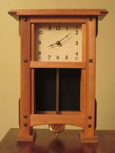 "Small Pendulum Clock - CustomMade by Dwight Demmin. Small pendulum clock for mantel or desk. Price range  $75 - $150. Dimensions: 15-1/2""x11""x4-1/2""."