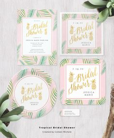 """Elegant and chic tropical bridal shower invitations. Featuring green palm fronds, pink accents and a faux gold """"Bridal Shower"""" text with pineapples. ♥ Repinned by Annie @ www.perfectpostage.com"""