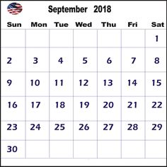 September 2018 USA Calendar 2018 Calendar Template, Excel Calendar, Printable Blank Calendar, Calendar Wallpaper, September, Printables, Templates, Events