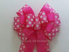 Hot Pink Polka Dots Bow Pinks Birthday decoration by Simply Adornments