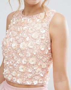 Lace & Beads Crop Top with 3D Embellishment
